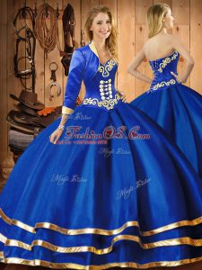 Floor Length Ball Gowns Sleeveless Blue Sweet 16 Dresses Lace Up