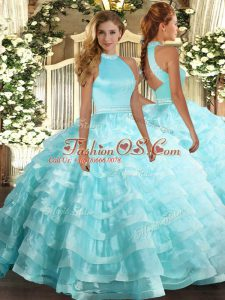 Top Selling Sleeveless Floor Length Beading and Ruffled Layers Backless 15 Quinceanera Dress with Aqua Blue