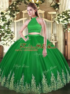 Green Halter Top Neckline Beading and Appliques Quinceanera Gowns Sleeveless Backless