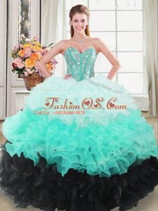 Sleeveless Floor Length Beading and Ruffled Layers Lace Up Quinceanera Gowns with Multi-color