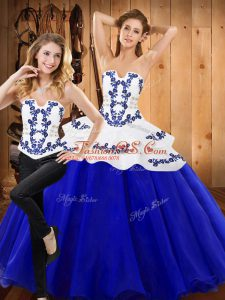 Floor Length Lace Up Quinceanera Gowns Royal Blue for Military Ball and Sweet 16 and Quinceanera with Embroidery