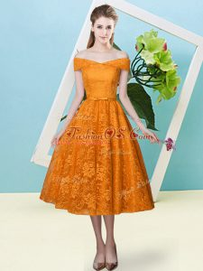 Empire Bridesmaids Dress Orange Red Off The Shoulder Lace Cap Sleeves Tea Length Lace Up