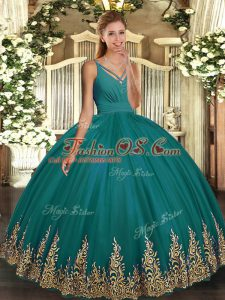 Clearance Turquoise V-neck Backless Appliques Quinceanera Gown Sleeveless