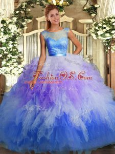 High End Sleeveless Organza Floor Length Backless Quinceanera Dresses in Multi-color with Lace and Ruffles