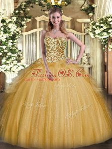 Organza Sweetheart Sleeveless Lace Up Beading and Ruffles Quinceanera Gowns in Gold