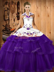 Purple Ball Gowns Embroidery and Ruffled Layers 15 Quinceanera Dress Lace Up Organza Sleeveless