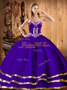 Elegant Embroidery Quince Ball Gowns Purple Lace Up Sleeveless Floor Length