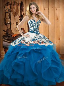 Floor Length Ball Gowns Sleeveless Baby Blue Ball Gown Prom Dress Lace Up