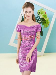 Lilac Sequined Zipper Prom Dresses Short Sleeves Mini Length Sequins