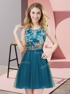 Teal Tulle Side Zipper Scoop Sleeveless Mini Length Wedding Guest Dresses Lace