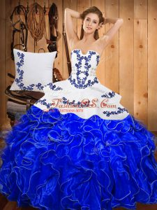Trendy Floor Length Blue And White Ball Gown Prom Dress Strapless Sleeveless Lace Up