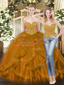 Glamorous Brown Sweet 16 Dresses Military Ball and Sweet 16 and Quinceanera with Beading and Ruffles Sweetheart Sleeveless Lace Up