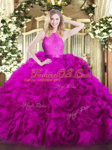 Fuchsia Fabric With Rolling Flowers Zipper Scoop Sleeveless Floor Length Quinceanera Gowns Lace