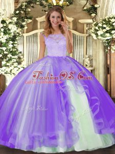 Lavender Tulle Clasp Handle Scoop Sleeveless Floor Length Sweet 16 Dress Lace and Ruffles
