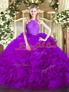 Fashion Scoop Sleeveless Zipper Quince Ball Gowns Eggplant Purple Fabric With Rolling Flowers