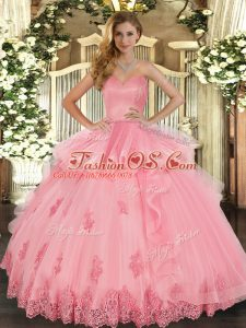 Free and Easy Watermelon Red Lace Up Quinceanera Gowns Beading and Appliques and Ruffles Sleeveless Floor Length