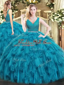 Floor Length Teal 15 Quinceanera Dress Tulle Sleeveless Beading and Ruffles