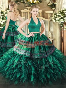 Flirting Dark Green Halter Top Neckline Appliques and Ruffles Sweet 16 Dress Sleeveless Zipper