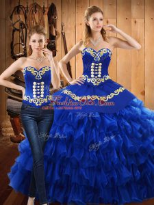 Tulle Sweetheart Sleeveless Lace Up Embroidery and Ruffled Layers Vestidos de Quinceanera in Blue