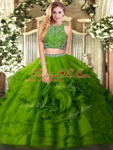 Excellent Beading and Ruffled Layers Sweet 16 Dress Olive Green Zipper Sleeveless Floor Length