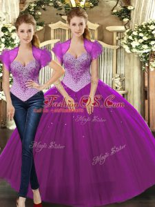 Fuchsia Ball Gowns Straps Sleeveless Tulle Floor Length Lace Up Beading Ball Gown Prom Dress