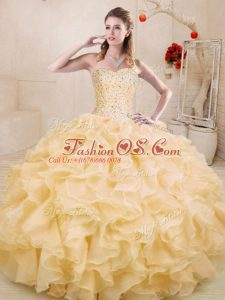 Beading and Ruffles Vestidos de Quinceanera Gold Lace Up Sleeveless Floor Length