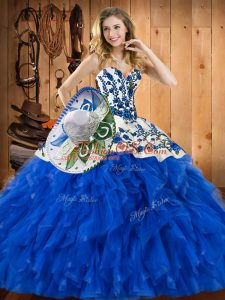 Hot Selling Blue Sweetheart Lace Up Embroidery and Ruffles Sweet 16 Quinceanera Dress Sleeveless