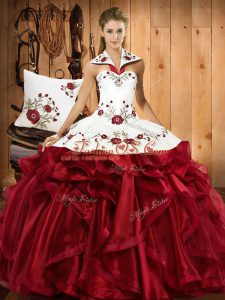 Halter Top Sleeveless 15th Birthday Dress Floor Length Embroidery and Ruffles Wine Red Organza