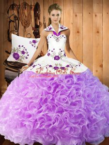 Sophisticated Lilac Ball Gowns Halter Top Sleeveless Fabric With Rolling Flowers Floor Length Lace Up Embroidery Sweet 16 Dress
