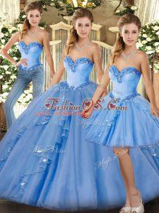 Luxury Beading and Ruffles Vestidos de Quinceanera Baby Blue Lace Up Sleeveless Floor Length