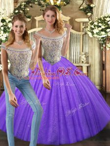Eggplant Purple Sleeveless Beading Floor Length Vestidos de Quinceanera