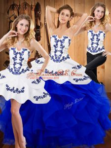 Elegant Strapless Sleeveless Satin and Organza Quinceanera Dress Embroidery and Ruffles Lace Up