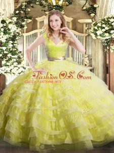 Super Yellow Green Organza Zipper Sweet 16 Dress Sleeveless Floor Length Ruffled Layers