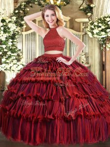 Sleeveless Organza Floor Length Backless Vestidos de Quinceanera in Wine Red with Beading and Ruffled Layers