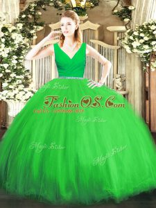 V-neck Sleeveless Zipper Quinceanera Gown Tulle