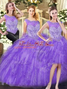 Edgy Scoop Sleeveless Lace Up Ball Gown Prom Dress Eggplant Purple Organza