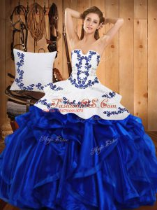 Flare Floor Length Blue Quinceanera Gown Satin and Organza Sleeveless Embroidery and Ruffles