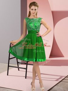 Green Backless Scoop Appliques Prom Dress Chiffon Sleeveless