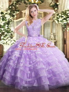 Glamorous Lavender Sleeveless Lace and Ruffled Layers Floor Length 15 Quinceanera Dress
