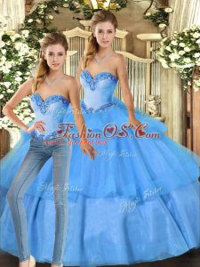 Fitting Baby Blue Sleeveless Organza Lace Up Quince Ball Gowns for Military Ball and Sweet 16 and Quinceanera