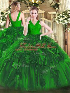 Low Price Floor Length Dark Green 15th Birthday Dress Organza Sleeveless Ruffles