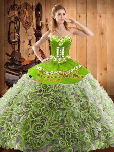 Dynamic Multi-color Sleeveless Satin and Fabric With Rolling Flowers Sweep Train Lace Up 15th Birthday Dress for Military Ball and Sweet 16 and Quinceanera
