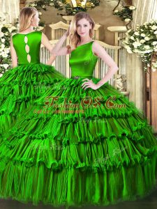 Green Ball Gowns Organza Scoop Sleeveless Ruffled Layers Floor Length Clasp Handle 15 Quinceanera Dress