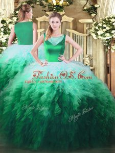Designer Multi-color Ball Gowns Scoop Sleeveless Tulle Floor Length Side Zipper Beading and Ruffles Quinceanera Dress