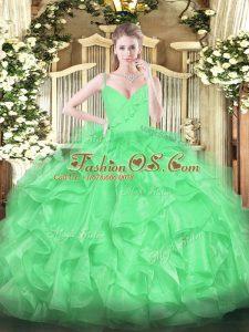 Green Zipper Quince Ball Gowns Ruffles Sleeveless Floor Length