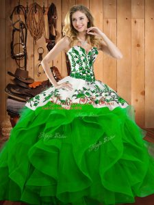 Satin and Organza Lace Up Sweetheart Sleeveless Floor Length Sweet 16 Dress Embroidery
