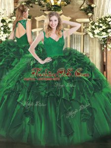 High End V-neck Sleeveless Quinceanera Gowns Floor Length Beading and Ruffles Dark Green Organza