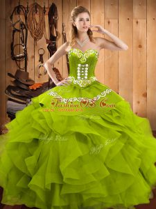 Olive Green Sweetheart Neckline Embroidery and Ruffles Quince Ball Gowns Sleeveless Lace Up