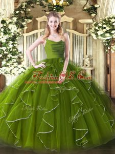 Suitable Floor Length Olive Green Sweet 16 Dress Straps Sleeveless Zipper