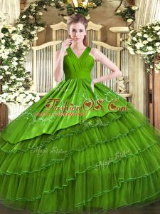 Latest Olive Green Sleeveless Embroidery and Ruffled Layers Floor Length 15th Birthday Dress